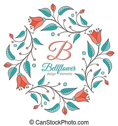 diseño floral, boda, elemento, bellflower