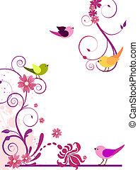 diseño floral, con, aves