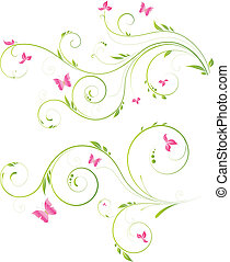 diseño floral, con, rosa florece