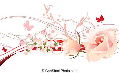 diseño floral, elemento, con, rosees, y, mariposa
