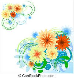 diseño floral, elementos, esquina