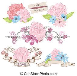 diseño floral, elementos, ramos, y, banderas