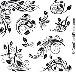 diseño floral, elementos, vector, conjunto