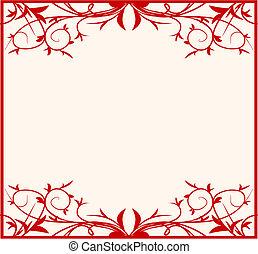 diseño, floral, marco