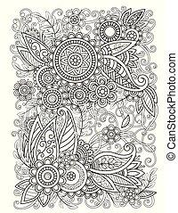 diseño, floral, oriental