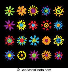 diseño, flores, conjunto, elementos
