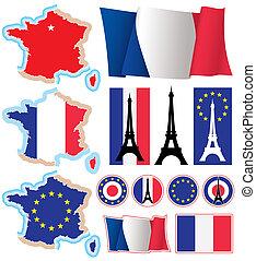 diseño, francés, elements.