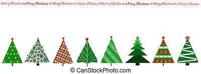 diseño, frontera, árboles de navidad, fila