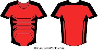 diseño, futurista, camisa roja