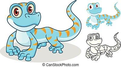 diseño, gecko, carácter, caricatura, mascota