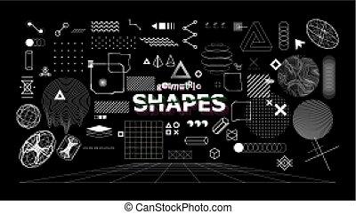 diseño geométrico, neo, memphis, shapes., elegante