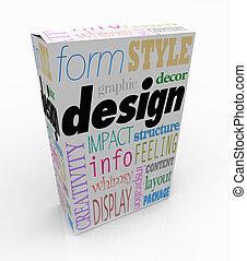 diseño gráfico, palabras, producto, caja, paquete, visual, comunicación