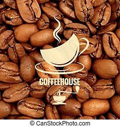 diseño, granos de café, plano de fondo, taza
