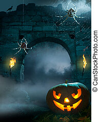diseño, halloween, plano de fondo, fiesta