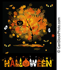 diseño, halloween, su, plano de fondo, fiesta