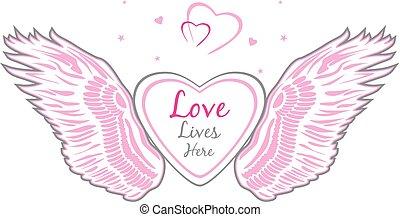 diseño, heart., alas, ángel, señal