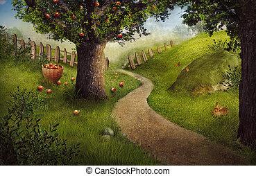 diseño, -, huerto de manzana, naturaleza