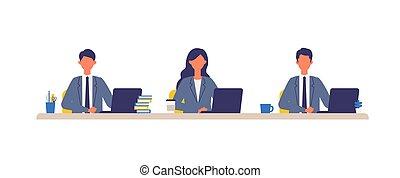 diseño, ilustración negocio, trabajando, plano, día, vector...