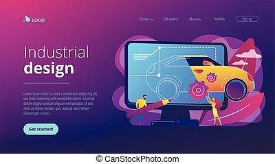 diseño industrial, concepto, aterrizaje, page.