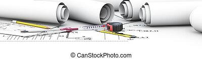 diseño, ingeniería, architect., herramientas
