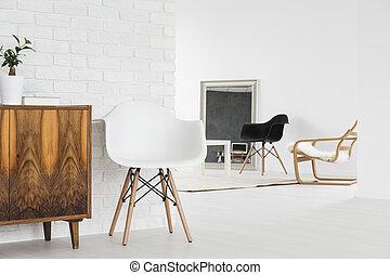 diseño, interior, minimalista, desván