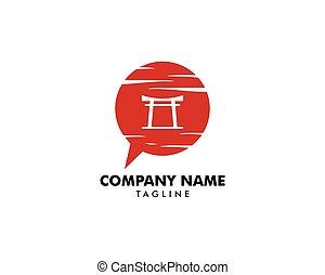 diseño, japonés, torii, charla, plantilla, puerta, logotipo,...