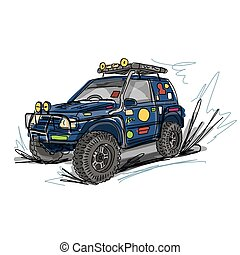 diseño, jeep, su, afinó, bosquejo