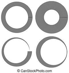 diseño, líneas, hélice, circular, element(s), radial, voluta...