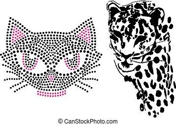 diseño, lindo, gato, tigre, ilustración, arte