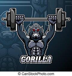 diseño, logotipo, gorila, mascota, esport