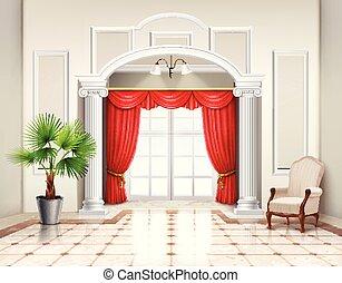 diseño, lujo, cortinas, interior, realista