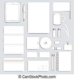 diseño, maqueta, blanco, pluma, pc, identidad, vector, blanco, sobre, papelería, empresa / negocio, taza, moderno, corporativo, template., folleto, folleto, tarjeta, insignia, tableta, conjunto, presentación, pencil., limpio