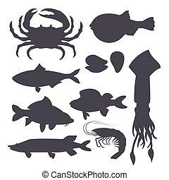 diseño, mariscos, camarón, blanco, market., -, silueta, vector, menú, aislado, marina, ilustración, mejillón, negro, plano, restaurante, fondo., cangrejo, estilo, conjunto, criaturas, pez