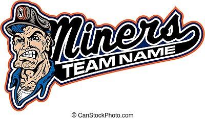 diseño, mineros, equipo