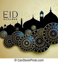 diseño, mubarak, islámico, eid, fiesta
