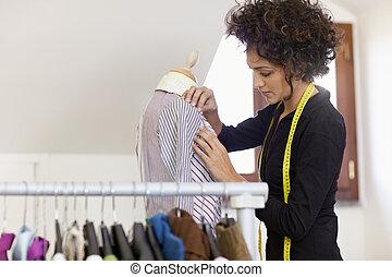 diseño, mujer, moda, estudio, trabajando