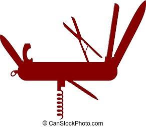 diseño, multifunctional, silueta, rojo, cuchillo