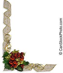 diseño, navidad, frontera, esquina