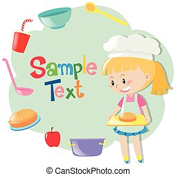 diseño, niña, papel, hornada, pastel