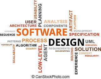diseño, -, nube, palabra, software