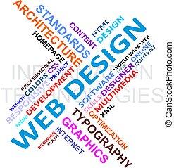 diseño, -, nube, palabra, tela