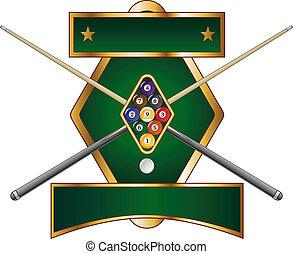 diseño, nueve pelota, emblema