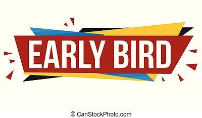 diseño pájaro, temprano, bandera