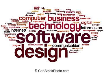diseño, palabra, nube, software