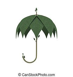 diseño, paraguas, verde, ambiental