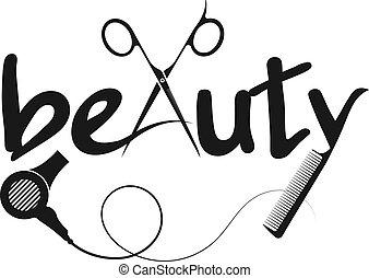 diseño, peine, tijeras, belleza