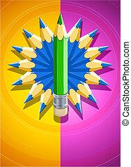 diseño, plano de fondo, con, círculo, hecho, de, lápices coloreados
