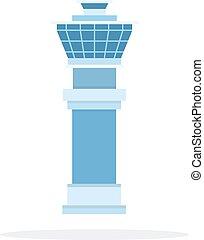diseño, plano, material, vector, habitación, objeto, aislado, blanco, fondo., aeropuerto, control