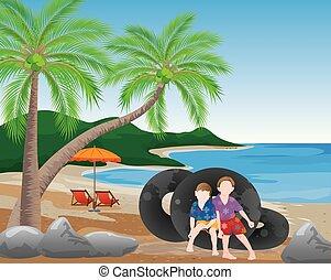 diseño, playa, vector, niño, dos