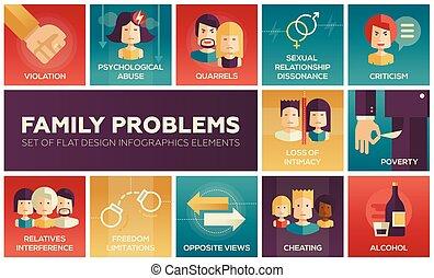 diseño, problems-, familia , iconos, conjunto, plano